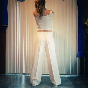 Flowing Silk Linen Wide Leg Luxury Cruise Pants